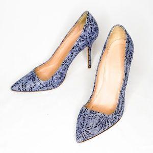 J. CREW Leather Blue Floral Stiletto Heel Size 8